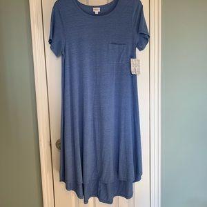 NWT LulaRoe Large Blue Carly Dress